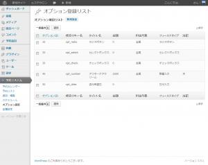 管理画面オプション登録リスト